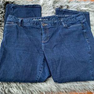 Eddie Bauer Dark Wash Denim Curvy Boot Cut Jeans